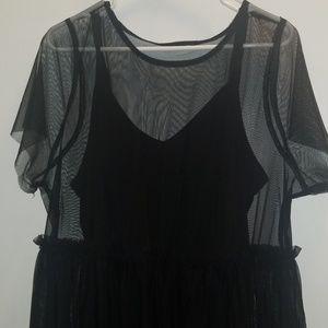 Sheer black skater dress